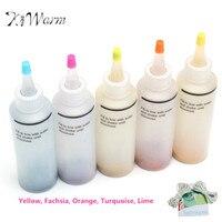 Kiwarm 5 colores del arco iris un paso tie Dye kit tinte activado + 40 unids gomas 4 pares Guantes para Telas pintura DIY artesanía