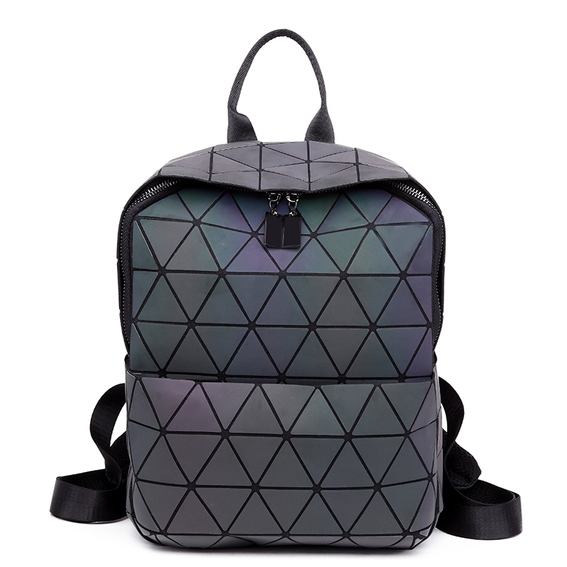 Japanese section geometric stitching luminous lady backpack laser woman's bag fashion avant-garde folding bag, school bag armstrong j fraser cavassoni n unbridaled marriage of tradition and avant garde