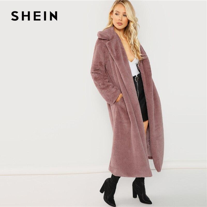 SHEIN Rosa Oficina señora elegante abierto frente largo piel sintética Teddy sólido abrigo 2018 otoño minimalista mujeres abrigos ropa de abrigo - 2