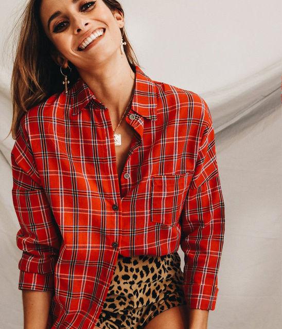 88393b0dcbb Women Fashion Plaid Shirt Yellow Red Long Sleeve Shirt Ladies Turn Down  Collar Pocket Tops Women Casual Plaid Shirts