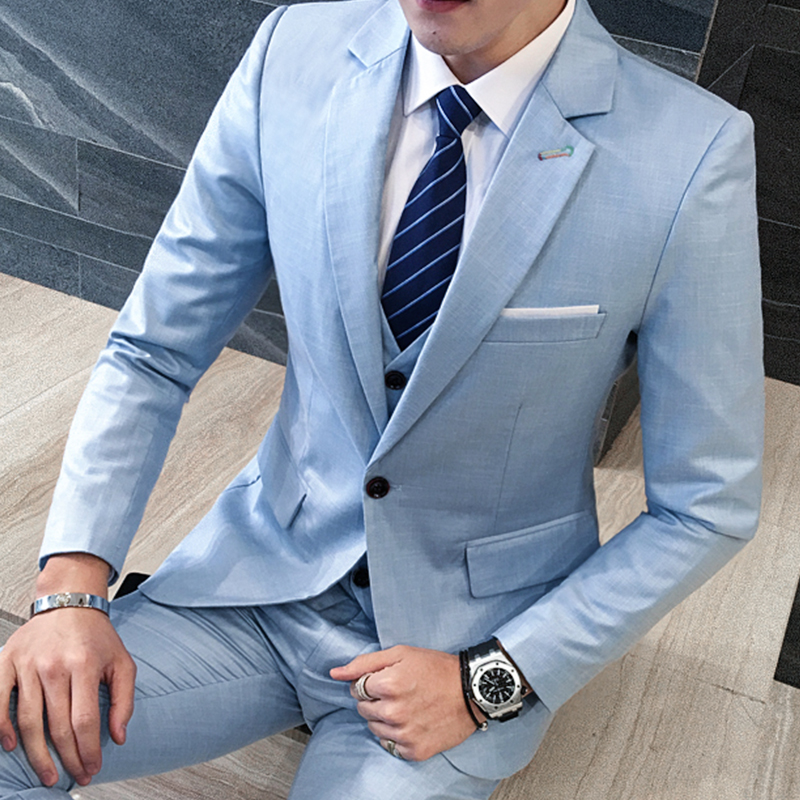 3piece Mens Suits 2018 New Solid Slim Fit Men Casual Dress Suits Hot Sale Long Sleeve Plus Size Business Formal Wear Blazer Set