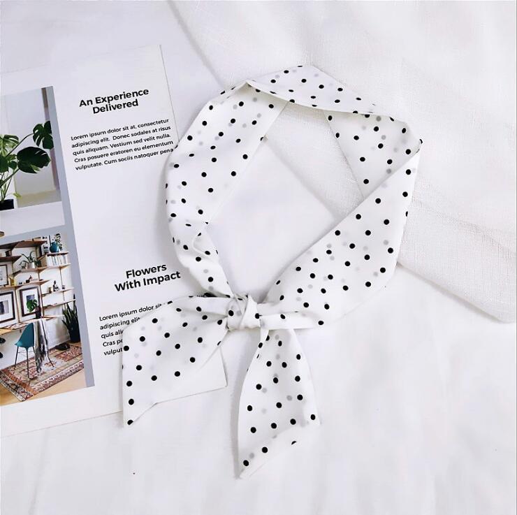 Wholesale Luxury Women Silk Square Scarf Neckerchief Polka Dot Printed Large Square Scarves Ladies Office Foulard Femme Bandanas