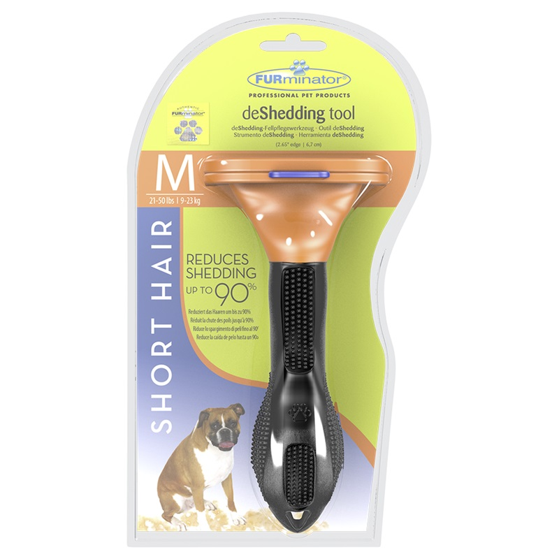 The tool against a molt of FURMINATOR for short-haired dogs of average breeds of Short Hair Medium Dog of 7 cm.  Dog Accessories tool 7