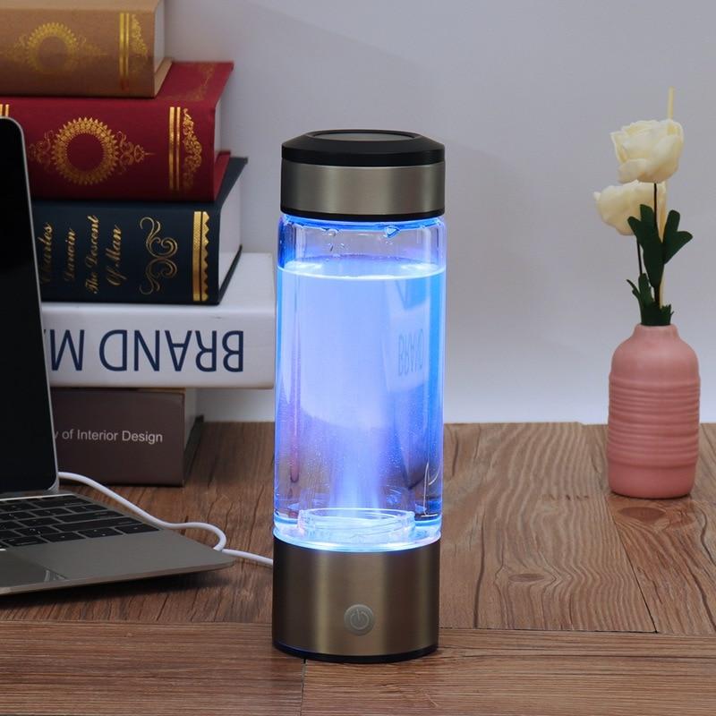 Garrafa de Água Rica Em Hidrogénio Gerador saudável Anti-Envelhecimento 380 ml Recarregável USB lonizer Rico Em Hidrogênio Máquina de Água Alcalina