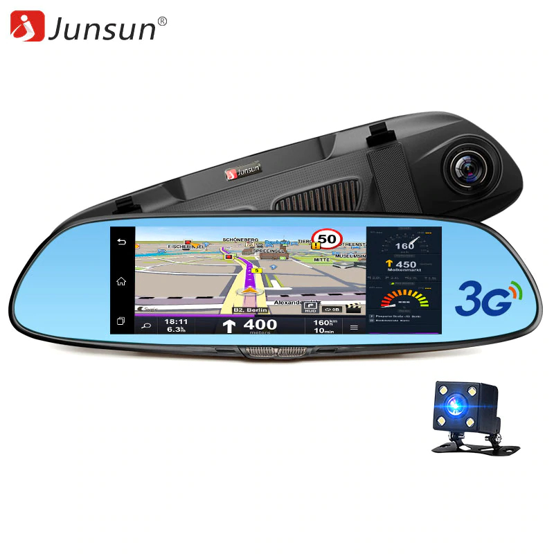 Dash camera Junsun A730 16GB 7 inch 3G Car GPS Navigation Android WIFI DVR Camera video recorder Rearview Mirror Vehicle gps freeshipping professional video camera digital camcorder dvr hdv f5 3 0 touch display 1080p hd dis optional wide angle lens