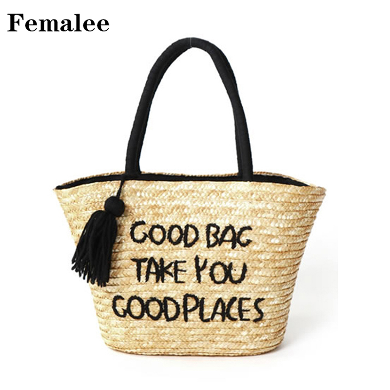 FEMALEE 2018 Summer Large Straw Beach Bag Tassels Women Natural Handbag Wicker Totes Bag Letter Print Shoulder Bag Holiday Bags letter print knot front top