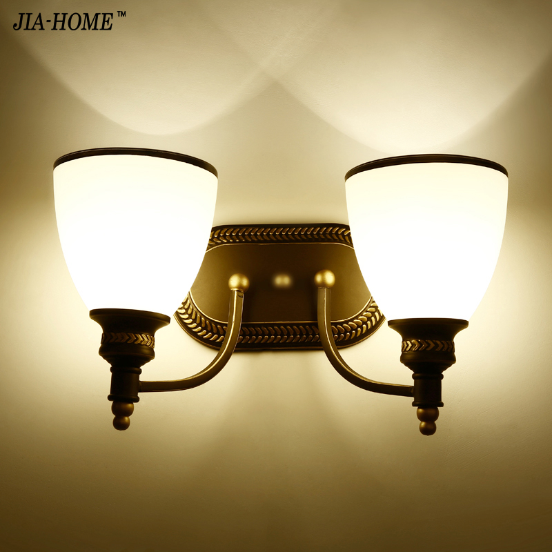 Wall light Glass lampshade Sconce 1 lamp or 2 lamps for Indoor bedroom bedside Lamp balcony lighting fixtures luminaria indoor brief solid oak wood textile desk lamp fabrics lampshade table light bedroom bedside warm lampara night light luminaria