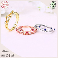 Popular Top Quality Exquisite Gold And Rose Gold 925 Silver Woman Crown Rings