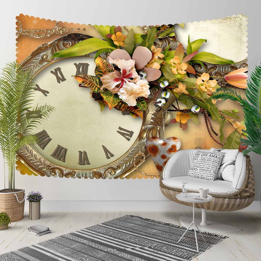 Else Brown Vintage Clock Green Leaves Yellow Flowers 3D Print Decorative Hippi Bohemian Wall Hanging Landscape Tapestry Wall Art