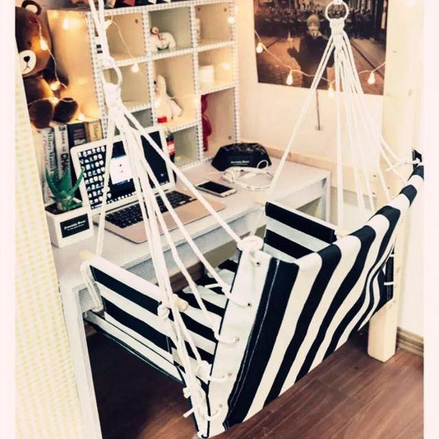 Outdoor Patio Swings Hanging Garden Swing Chair Cotton Sponge Soft Balcony For Dorm Room Jungle Hammock Rocking