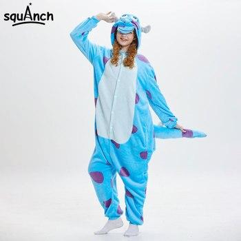 b8162fdd958 Женщины животное Onesie Monster Sullivan Kigurumi Sully Pajama Смешные  костюмы Взрослый мультфильм Blue Cow Costume Зимний