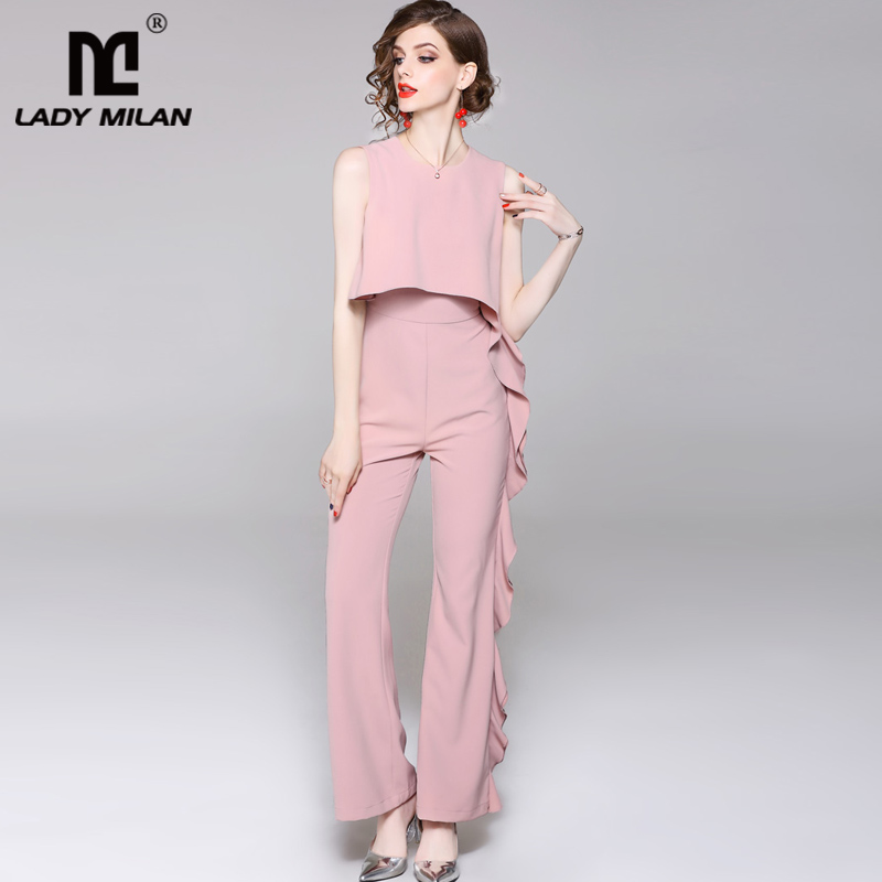 New Arrival 2018 Womens Neck Sleeveless Asymmetric Ruffles Fashion Designer Jumpsuits&Rompers