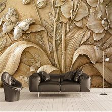 Creative 3D stereo orchid butterfly background wall professional making murals, wallpaper wholesale, custom poster photo