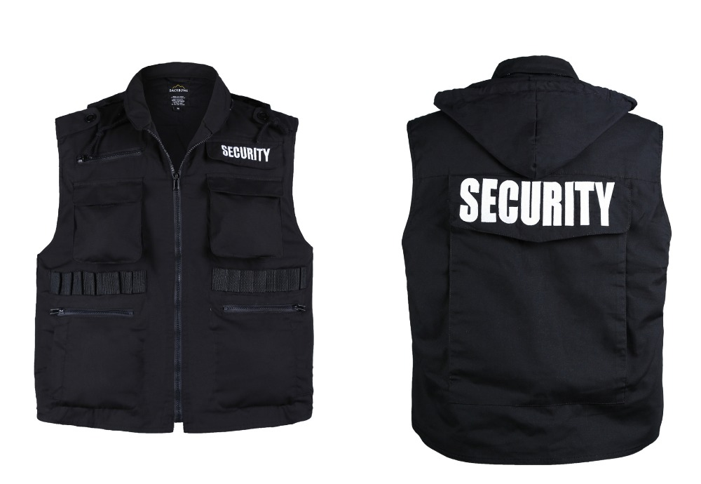 Mens Womens Army Style SECURITY Uniform Vest - Black -Size S, M,L,XL,2XL