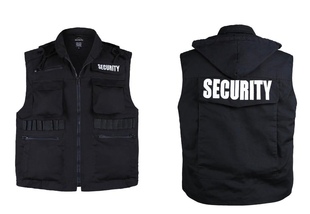 Mens Womens Army Style SECURITY Uniform Vest - Black -Size S, M,L,XL,2XL