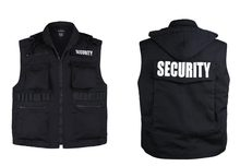 Mens Womens Army Style SECURITY Uniform Vest - Black -Size S, M,L,XL,2XL(China)