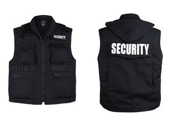 Mens Womens Army Style SECURITY Uniform Vest - Black -Size S, M,L,XL,2XL g4s security mercenary soldier army logo men s white size summer mask women kid s pm2 5