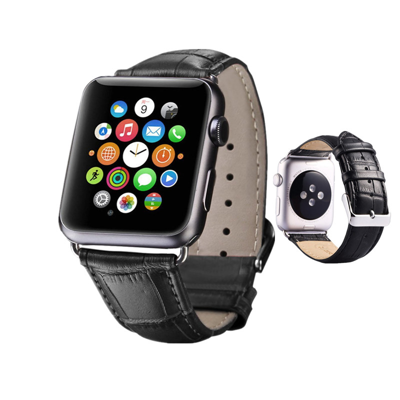 ASHEI 42mm Watch Bands for Apple Watch Series 3 2 1 Band Genuine Leather Crocodile Wrist Strap for iWatch 38mm Watchbelt Men ashei watch wrist bracelet strap for apple watch band series 3 leather 42mm 38mm retro vintage watchbands for iwatch series 1 2