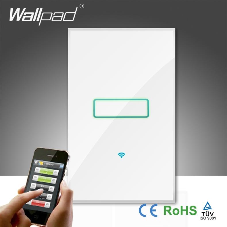 Offres spéciales Wallpad verre trempé blanc 120 AU US 110 ~ 250 V 1 Gang 1 voie 2 voies téléphone Wifi sans fil contrôle interrupteur mural