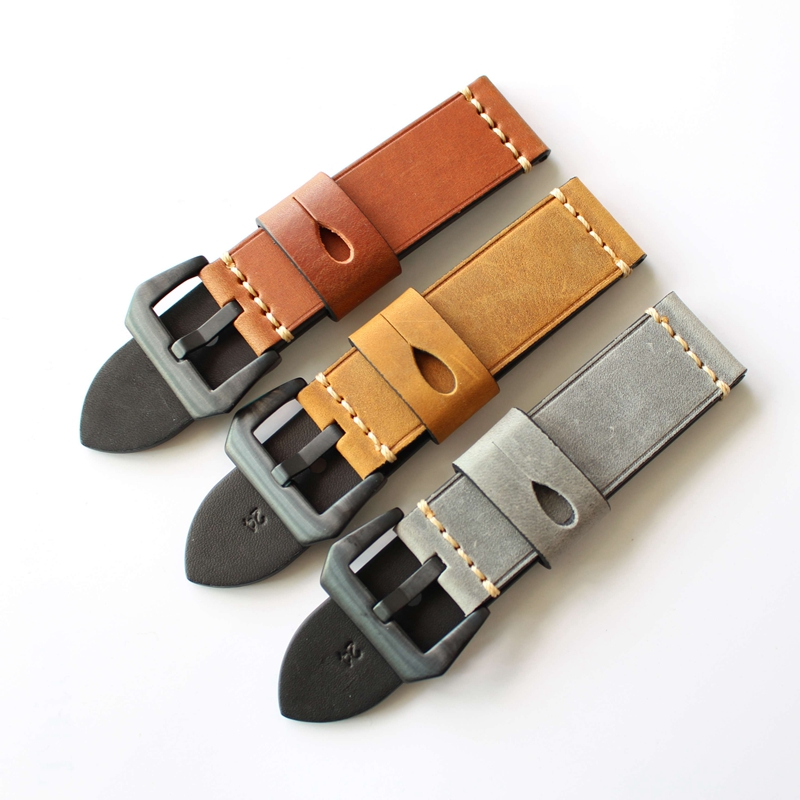 Grey Brown Watch Bands 20mm 22mm 23mm <font><b>24mm</b></font> 26mm Vintage Leather Watch <font><b>Strap</b></font> Watch Accessories Watchband For Panerai <font><b>Breitling</b></font> image