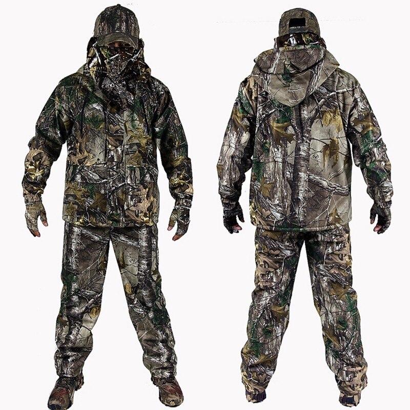 Hiver chaud 4 pc Bionic ensembles en plein air militaire tactique randonnée veste pantalon coupe-vent à capuche gants chapeau Camouflage chasse costumes