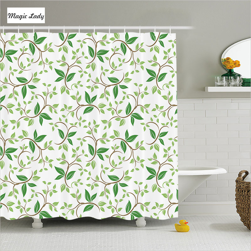Shower Curtain Green Bathroom Accessories Herbal Leaves Decor Ivy Patterns Of Tiny Fancy Branches White 180200 Cm In Curtains From Home Garden On