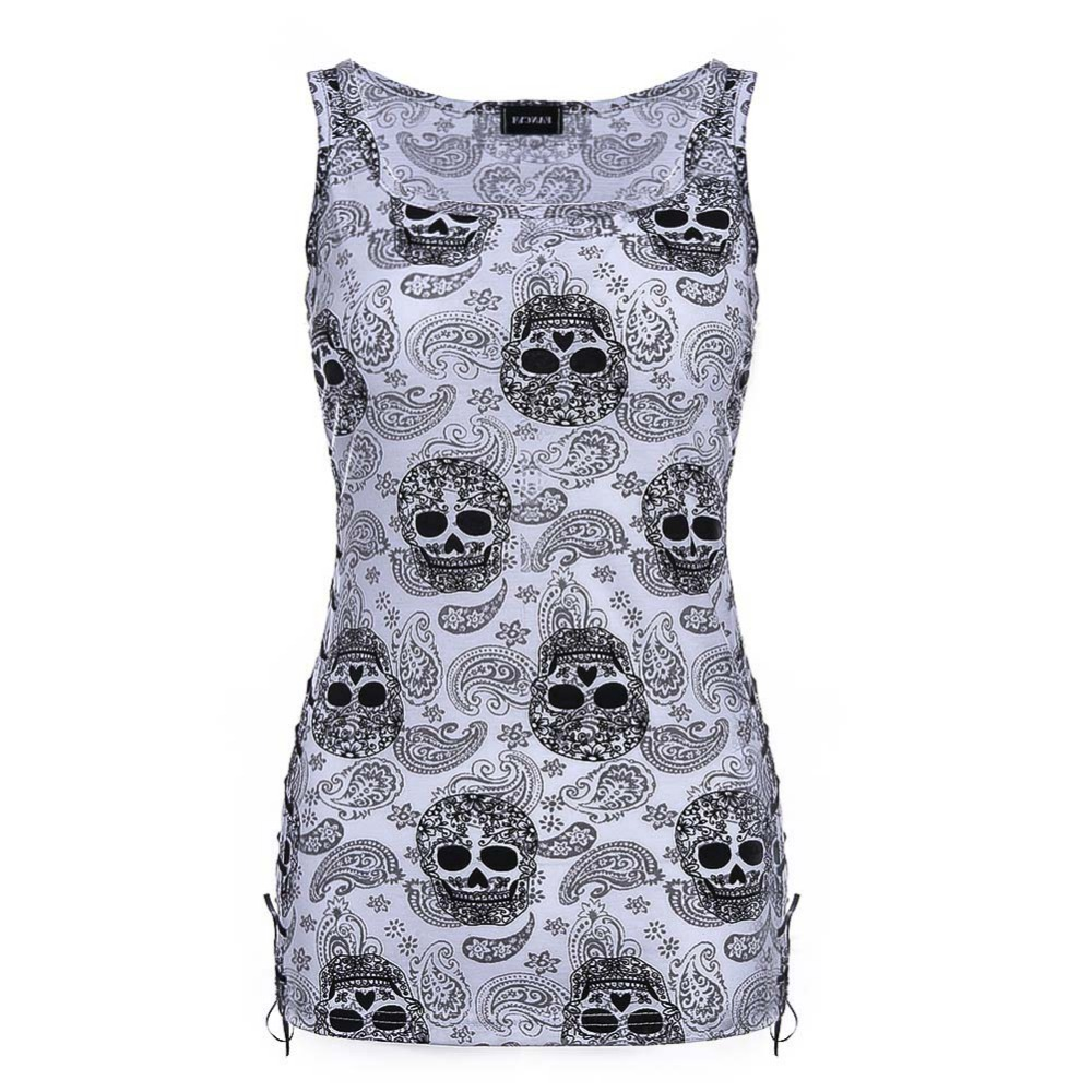 New Skull Head Design Tops Sleeveless White T Shirts Fitness Women Vest Casual Camisole