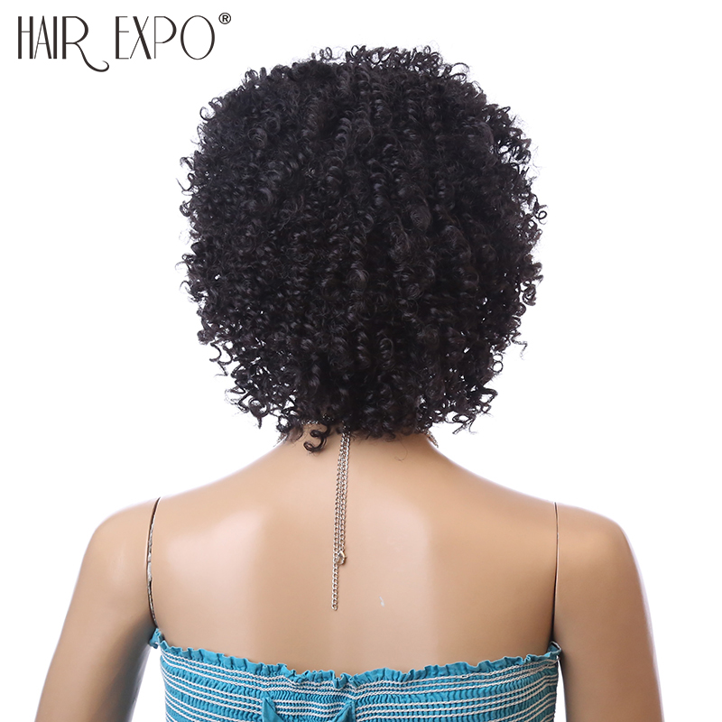 Image 2 - 6inch Short Kinky Curly Wig Afro Synthetic Wigs African Hairstyle For Black Women Hair Expo CitySynthetic None-Lace  Wigs   -
