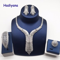 Hadiyana Brilliant Cubic Zirconia Dubai Bridal Jewelry 4pc Set Nigerian Wedding Necklace Earring Set Party Factory Price CN756