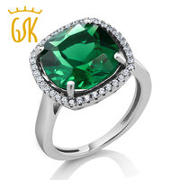 Vintage Style Women S Cushion Cut Green Nano Emerald Ring