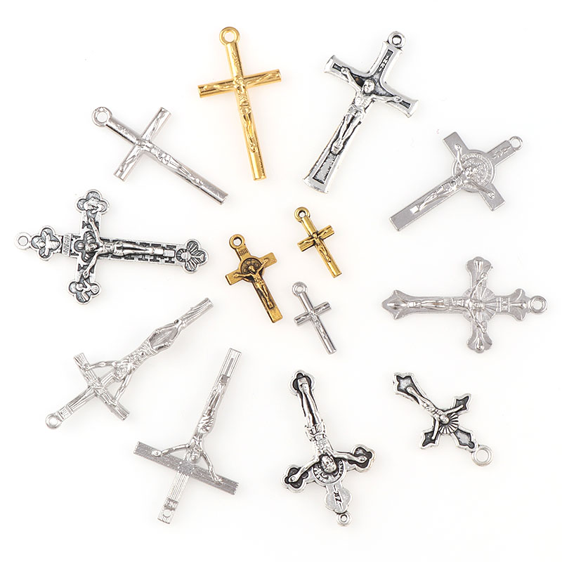 Religious Charms Cross One Hole Necklace Link Charm Pendants Center Accessories DIY Jewelry Accessories