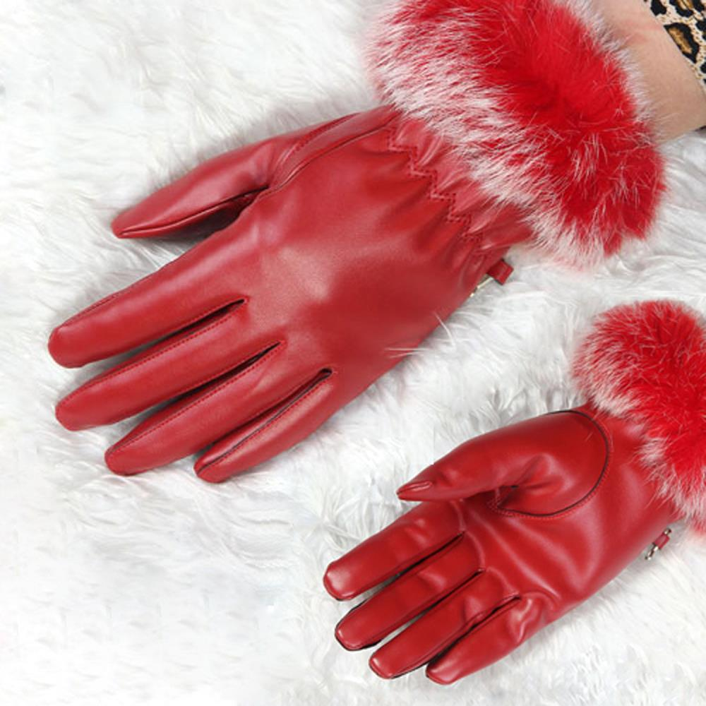 HOT SALE!Ladies Soft Leather Wrist Length Driving Gloves Velvet Lining - Red