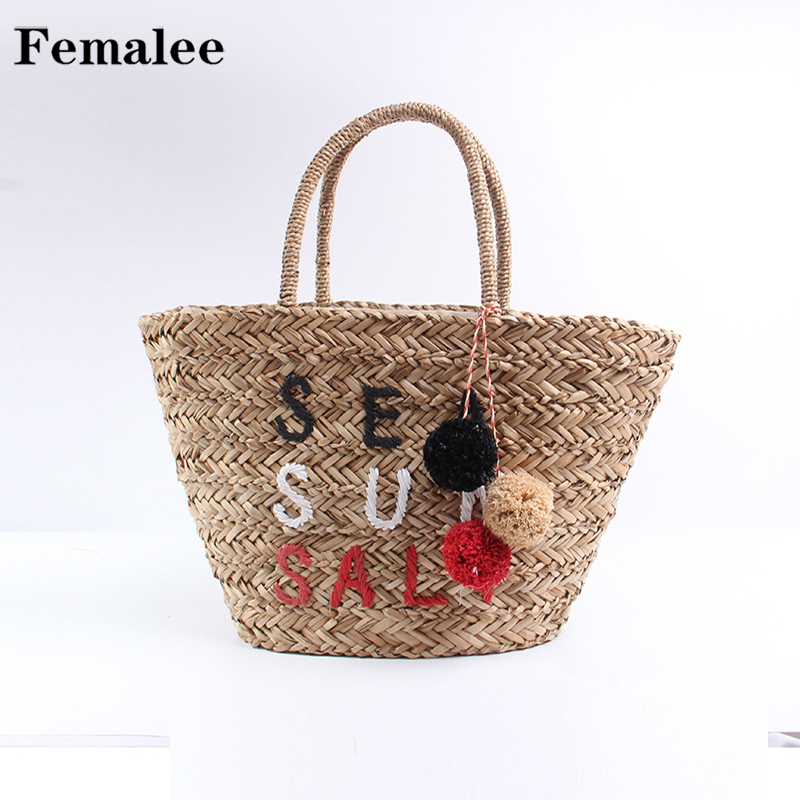 FEMALEE Colour Pompom Ball Women Beach Straw Bag Large Basket Sundry Letter Shoulder Bags 2018 Summer New Rattan Casual Handbags casual letter embroidery arrow straw hat