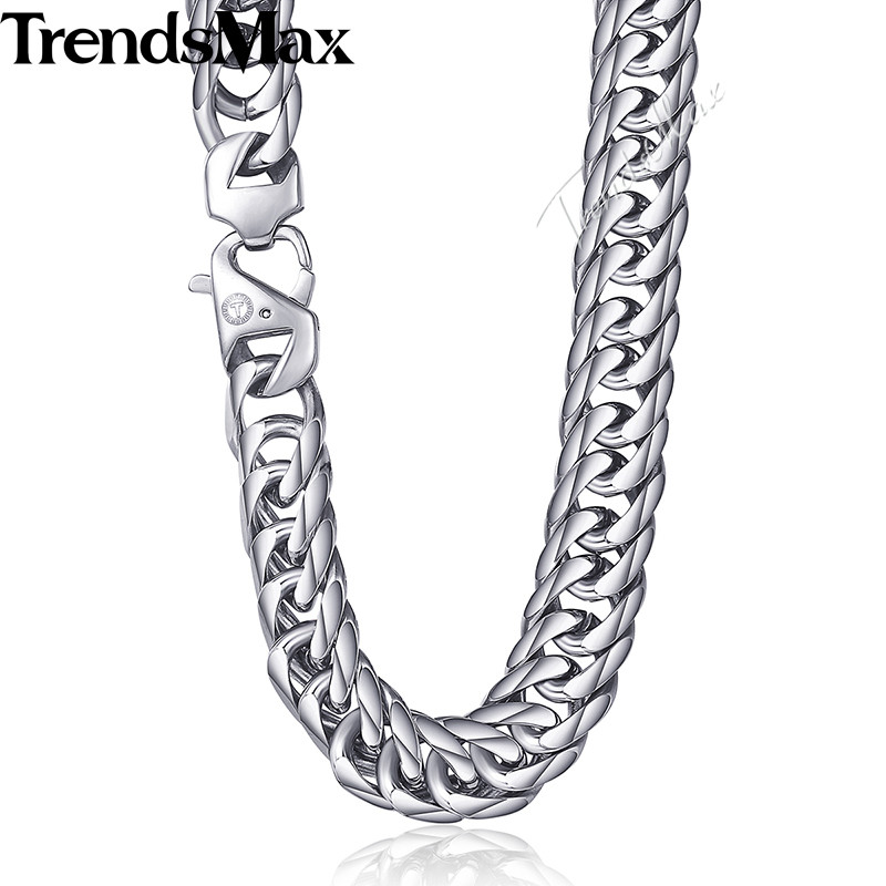 Trendsmax 15mm 60cm 70cm 316L Stainless Steel Necklace for Men Silver Color Curb Cuban Link Men's Chain KHN57 trendsmax bracelet for men 316l stainless steel curb cuban link chain bracelet totem knot charm wristband men fashion gift hb10