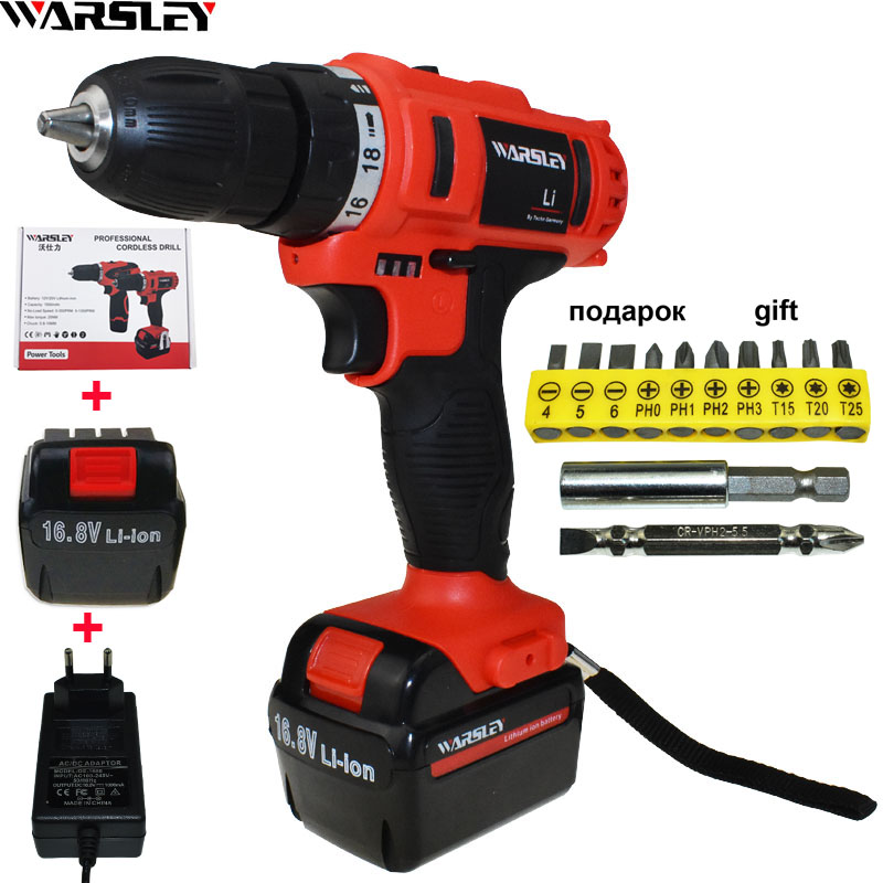 16.8V Cordless Drill Electric Screwdriver power tools Electric electric Drill Tools Mini Battery Drill electric drilling EU PLUG dongcheng 220v 1010w electric impact drill darbeli matkap power drill stirring drilling 360 degree rotation power tools