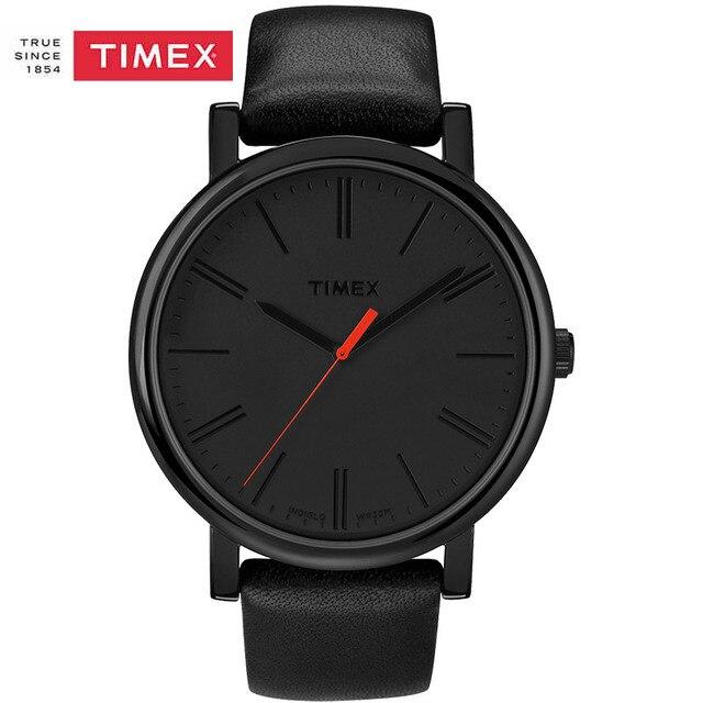 f41a2ef347a1 Mne Reloj Timex Easy Reader Negro Correa de Cuero Para Hombre de Cuarzo  Reloj T2N794 Luminosos