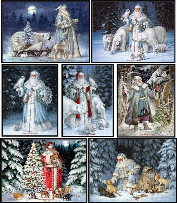 Arctic Santa Claus - Counted Cross Stitch Kits - Handmade Needlework for Embroidery 14 ct Cross Stitch Sets Christmas Holiday