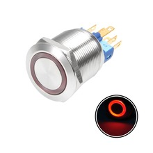 UXCELL Latching Metal Push Button Switch 22mm Mounting Dia 5A 1NO 1NC 220V Red Blue LED Light Flat Head 1PCS Switch Accessories