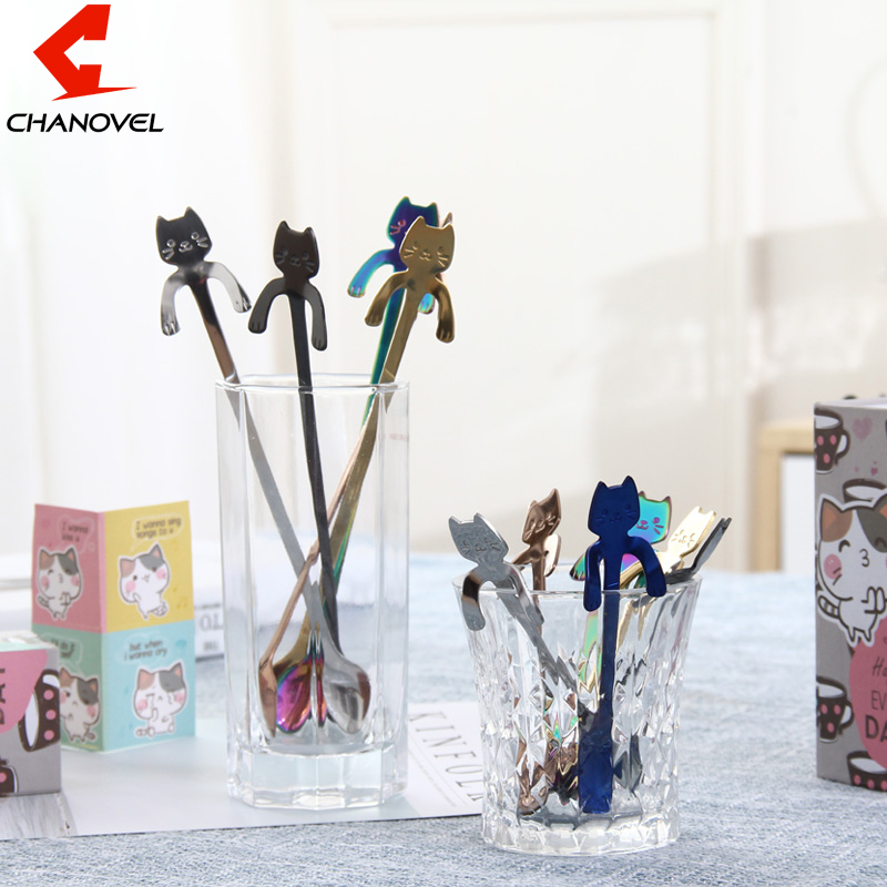 CHANOVEL 1Pcs Stainless Steel Cartoon Cat Spoon Creative Coffee Spoon Ice Cream Candy Teaspoon Kitchen Colorful Tableware
