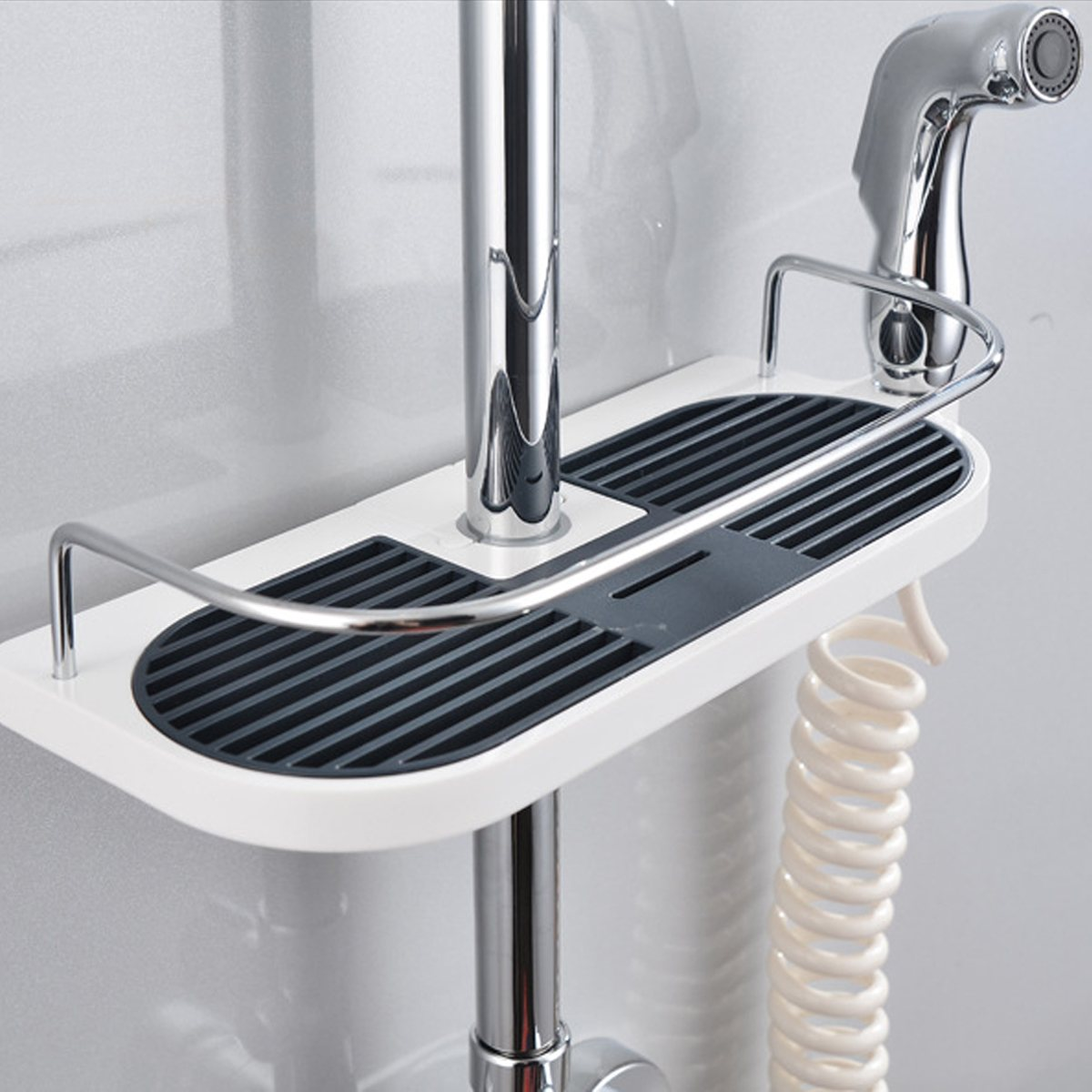 Rectangle/Round Bathroom Shelves Shower Storage Rack Holder Shampoo Tray Bathroom Shelves Single Tier Shower Head Holder