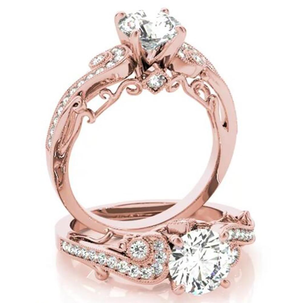 Women Fashion Luxury Hollow Zircons Ring Wedding Engagement Promise Ring Finger Jewelry