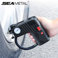 DC 12V Electric Portable Air Compressor Pump Small Tire Inflator 100 PSI Tyre Pressure Monitor for Car Motor Bicycle Automobiles