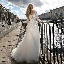 Swanskirt moda encaje Vestido de novia 2020 Sweetheart manga larga A Line Appliques Vestido de novia princesa Vestido de novia HZ16