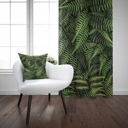 אחר ירוק טרופי אורן עצי עלים פרחוני 3d הדפסת סלון חדר שינה חלון לוח וילון לשלב מתנת כרית מקרה