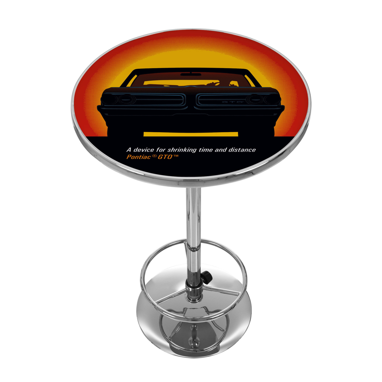 Pontiac GTO - Time & Distance - Chrome 42 Inch Pub Table цены