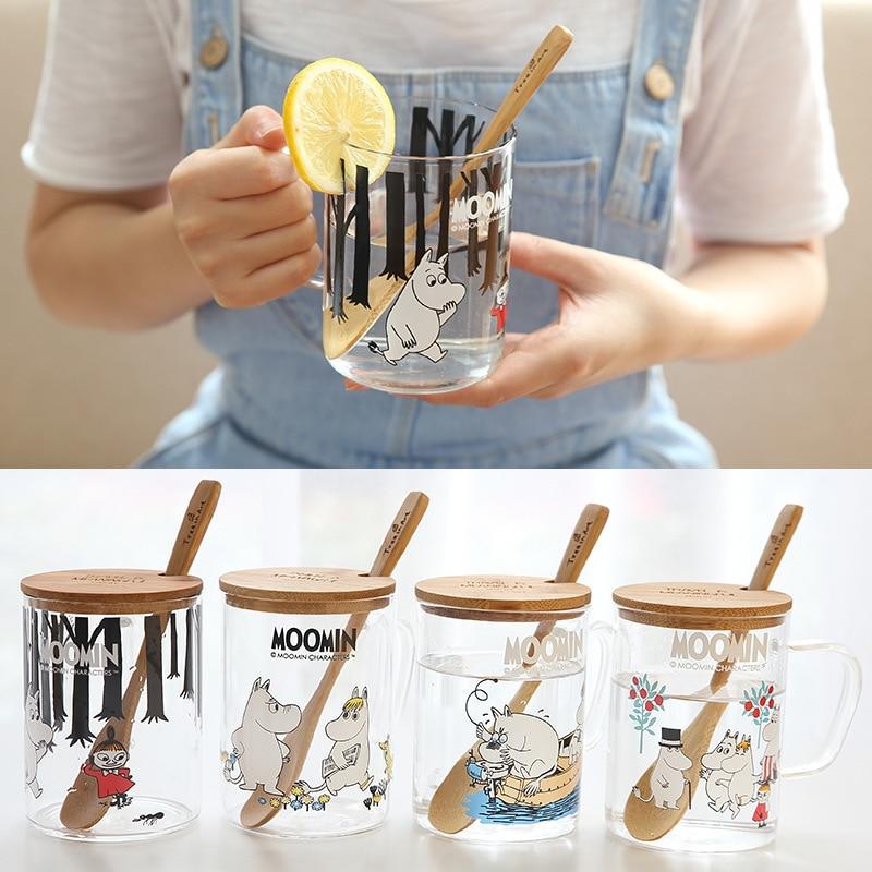 Moomin Finland Fairy Tale Muumien Mug Muumi Shot Glass With Wood Lid Spoon Healthy Hot Milk