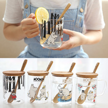 Муми Финляндия сказка Muumien кружка Muumi выстрел стекло с деревянной крышкой Ложка здоровый горячего молока воды керамическая кружка для завтрака мультфильм