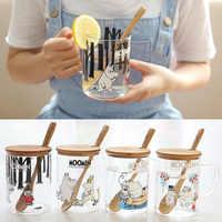 Moomin Finland Fairy Tale Muumien Mug Muumi Shot Glass With Wood Lid Spoon Healthy Hot Milk Water Breakfast Drinkware Cartoon