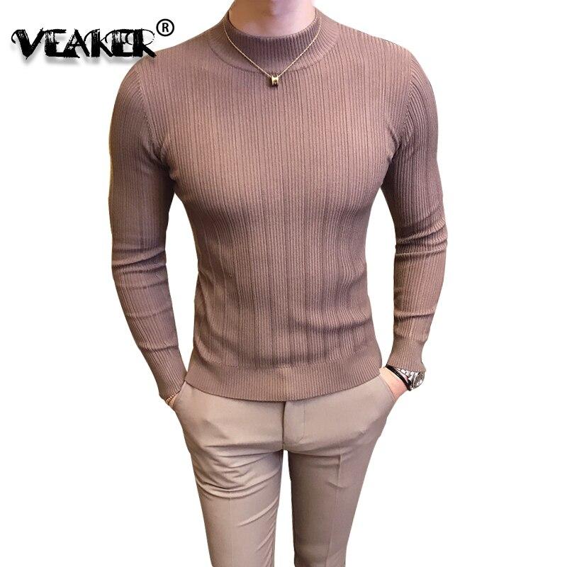 Men Sweaters Turtleneck Pullover Knitwear Slim-Fit Long-Sleeves Male Fashion M-3XL Jacquard