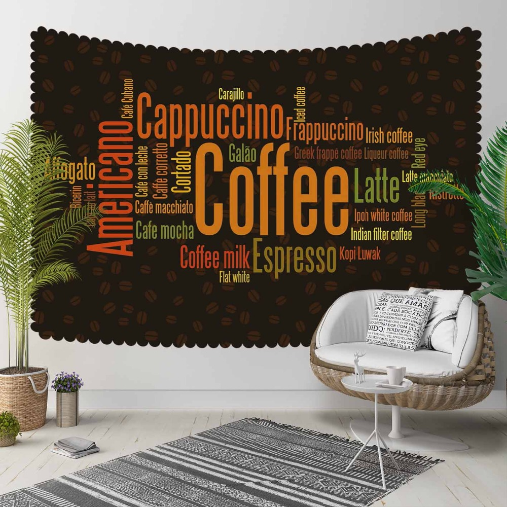 Else Black Floor Brown Orange Coffee Writen Beans 3D Print Decorative Hippi Bohemian Wall Hanging Landscape Tapestry Wall Art